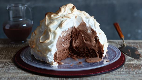Baked Alaska with hot chocolate sauce