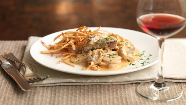 Beef stroganoff with matchstick potatoes