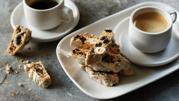 Dark cherry and hazelnut biscotti