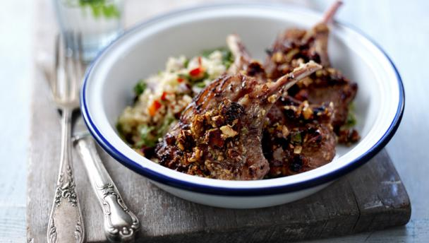 Dukkah lamb cutlets with quinoa salad