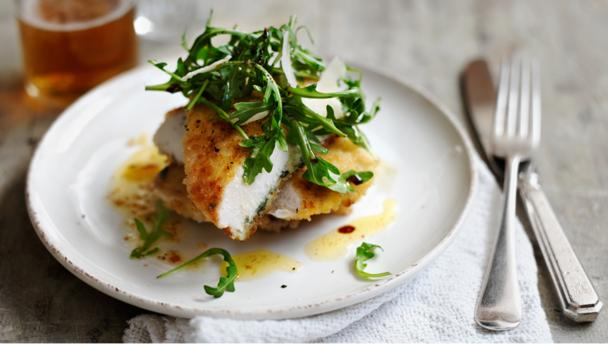 Escalope of chicken with rocket, sage and lemon