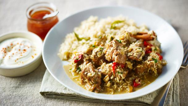 Goan mutton curry with spiced pilau rice