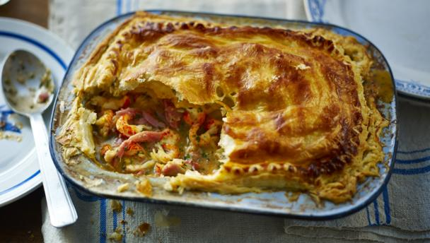 Ham, chicken and crayfish pie