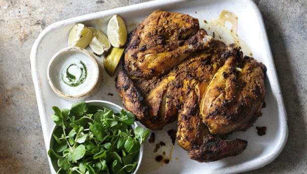 Masala-marinated chicken with minted yoghurt sauce