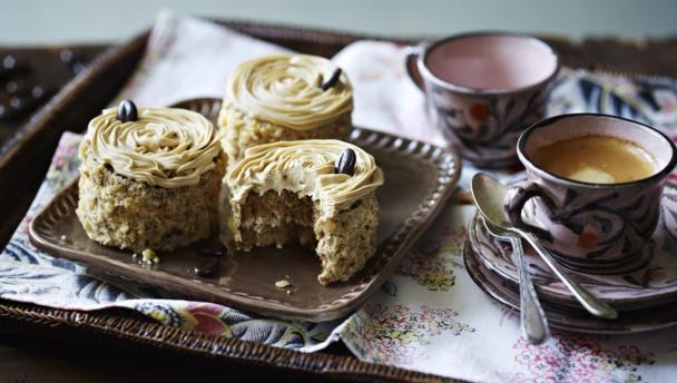 BBC Food - Recipes - Mini coffee and walnut cakes