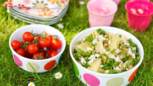Feta, rocket and olive pasta salad