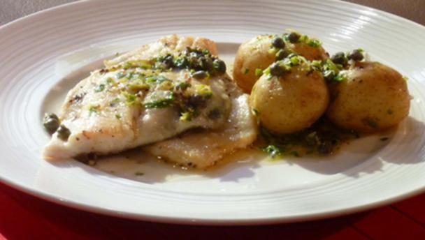 Pan-fried dab with lemon and mint potatoes