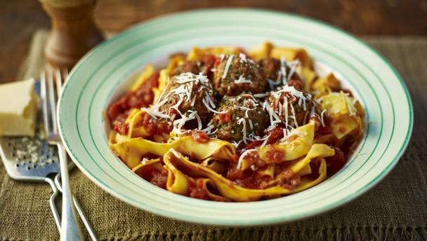 Pappardelle and meatballs
