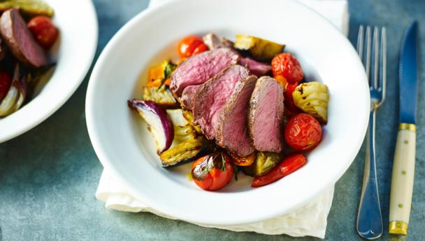 Roasted chump of lamb with rustic ratatouille