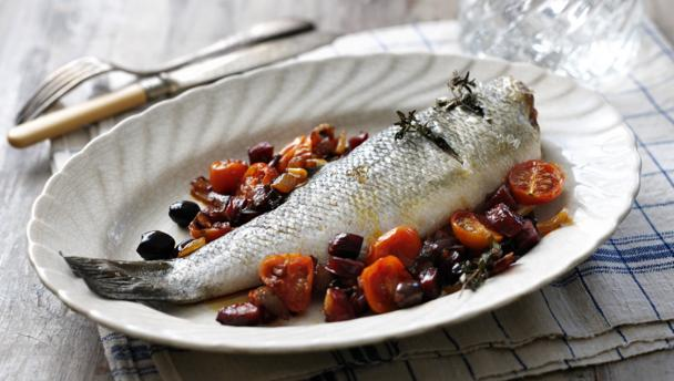 Roasted sea bass with chorizo, red onion and cherry tomatoes