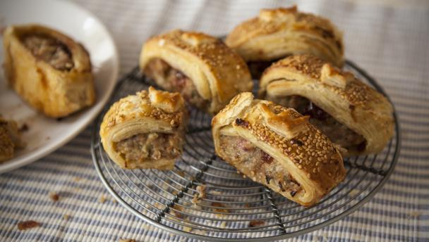 Bbc food recipes sausage rolls with caramelised red onions for Sausage roll recipe uk