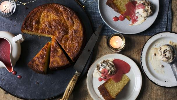 Tom Kerridge Orange Cake With Christmas Pudding Ice Cream