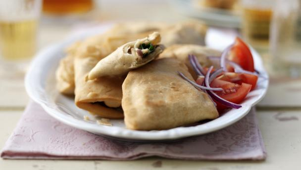 Bbc food recipes spinach and cheese samosas for Canape fillings indian