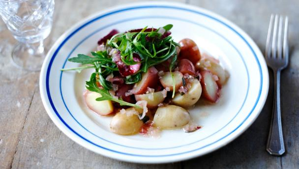 Warm potato salad with shallot dressing