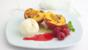 Caramelised peach melba with raspberry coulis