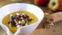 Celeriac and apple soup with bacon and parsley