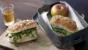 Chicken, pesto and rocket sandwich