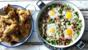 Deep-fried chicken wings al ajillo with braised peas and serrano ham with eggs