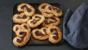 Goats' cheese, black olive and Parma ham pin-wheel palmiers