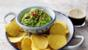 Green pea dip with nachos
