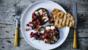 Grilled mushrooms with goats' cheese and beetroot and walnut salsa