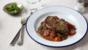 Lamb steak with minty broad beans