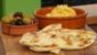 Naan bread with squash and tahini dip