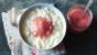 Rice pudding with rhubarb compôte