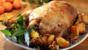 Roast goose with chickpea and lemon stuffing