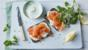 Smoked salmon open-topped sandwich