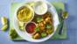 Vegetable pakoras and coconut dal