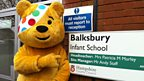 Pudsey at one of four schools visited