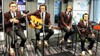 "McFly performing an acoustic version of their single ""Love Is Easy""."