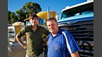 Simon Reeve with truck Driving instructor Stephen Mutch