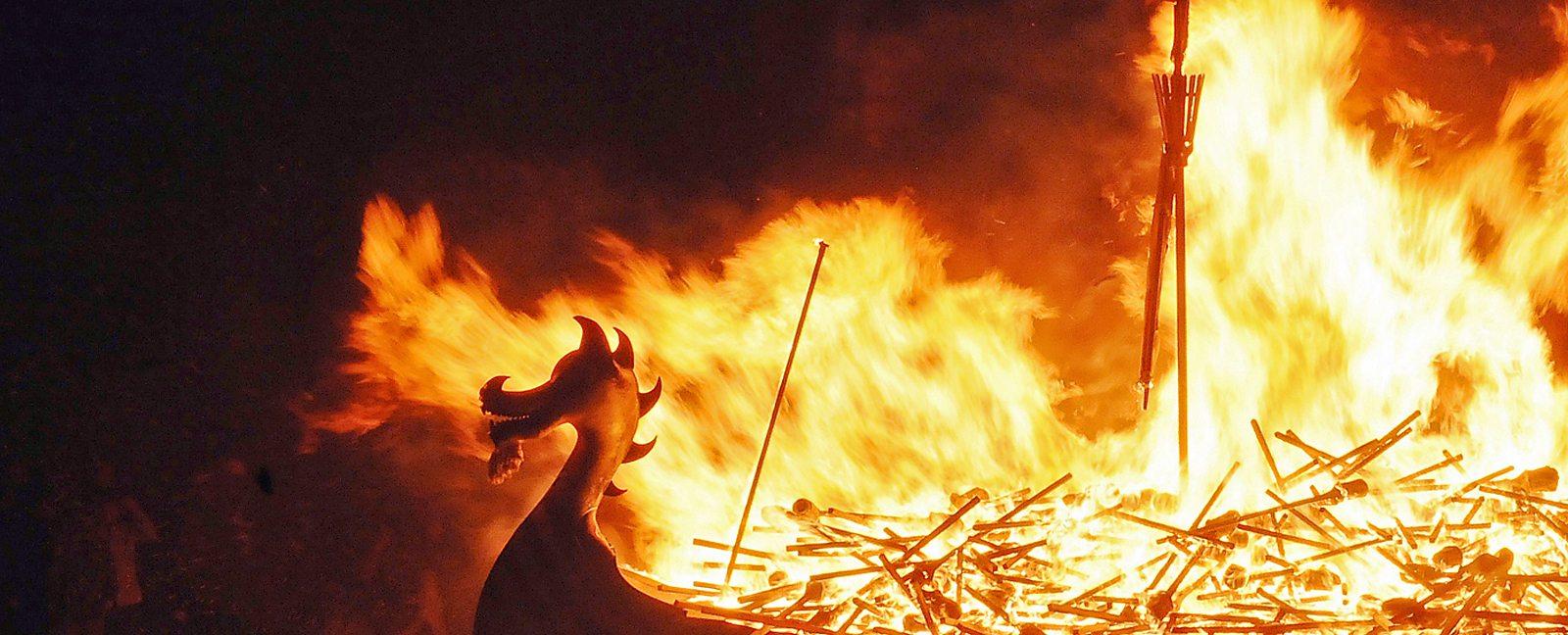 Image result for burning viking funeral boat