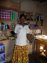 Cecilia in her hairdressers shop