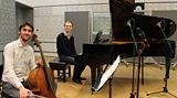 Cellist Philip Higham and pianist Sam Armstrong in the studio