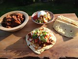 Smoked Chilli Beef with Pinto Beans, Corn Salsa and Roast Red Chilli Sauce, Homemade Corn Tortillas