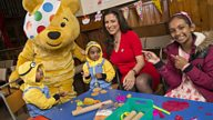 Behnaz Akhgar and Pudsey visit a Children in Need project