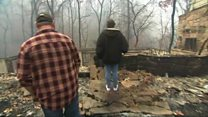 Tennessee couple return to fire-ravaged home