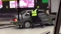 Russian man drives into airport terminal