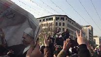 شعارهای حامیان جنبش سبز در مراسم تشییع جنازه اکبرهاشمی رفسنجانی