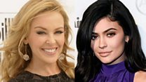 Kylie Minogue and Kylie Jenner (r)