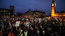 Protests as MPs clash over Trump visit