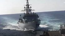 Near miss as Russian and US vessels almost collide