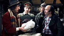 The Doctor, Brigadier Lethbridge-Stewart, Sergeant Benton and Huckle