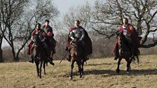 Merlin, King Arthur, Sir Elyan and Sir Leon