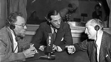 'Transatlantic Quiz' presented by Alistair Cooke, with (l-r) Christopher Morely and Howard Dietz, 1944
