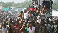 The crowd cheer for Vybz Kartel