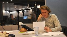 Julian Rhind-Tutt, who plays Lewis Carroll, recording his narrations